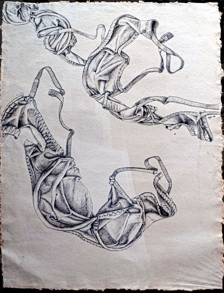 "Bras in Flight <span> Ink on HMP mold-made paper<br> 45""x 32"" </span>"