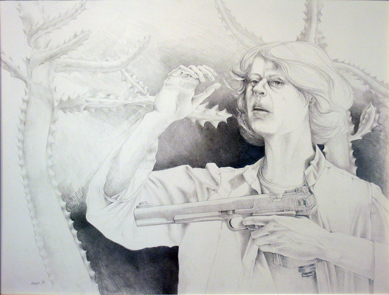 "Hunting <span> Pencil and conté on paper<br> 24"" x 30"" </span>"