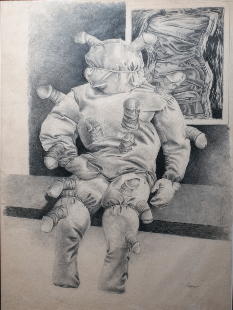 """Mr. Dick at Home <span>Pencil on Stonehenge paper<br> 38.5"""" x 28""""</span>"""