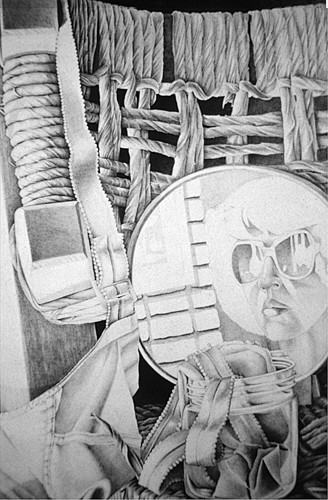 "Self Portrait as a Still Life <span>Pencil on handmade paper<br> 32"" x 45"" </span>"