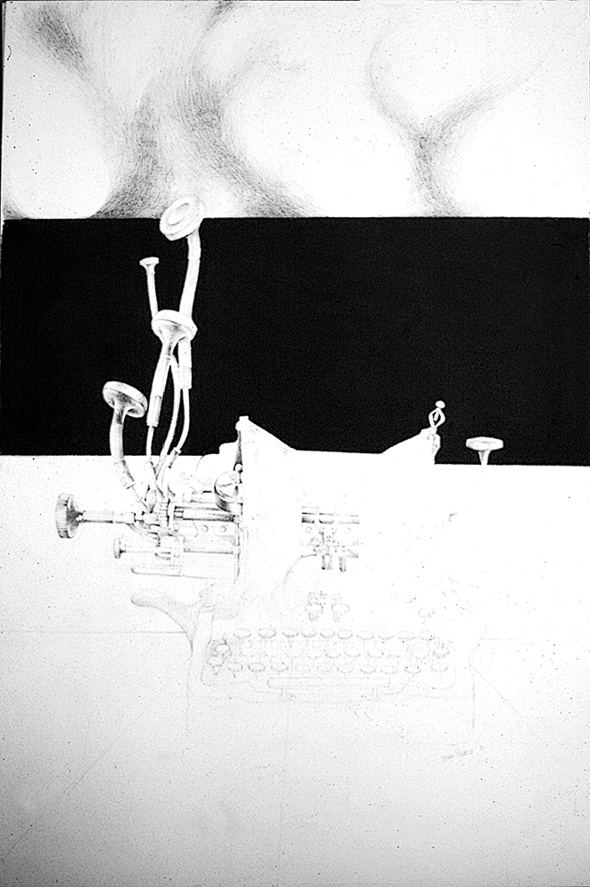 "Typewriter: Spiritual Ascension <span>Graphite and charcoal on paper<br> 18"" x 24"" </span>"