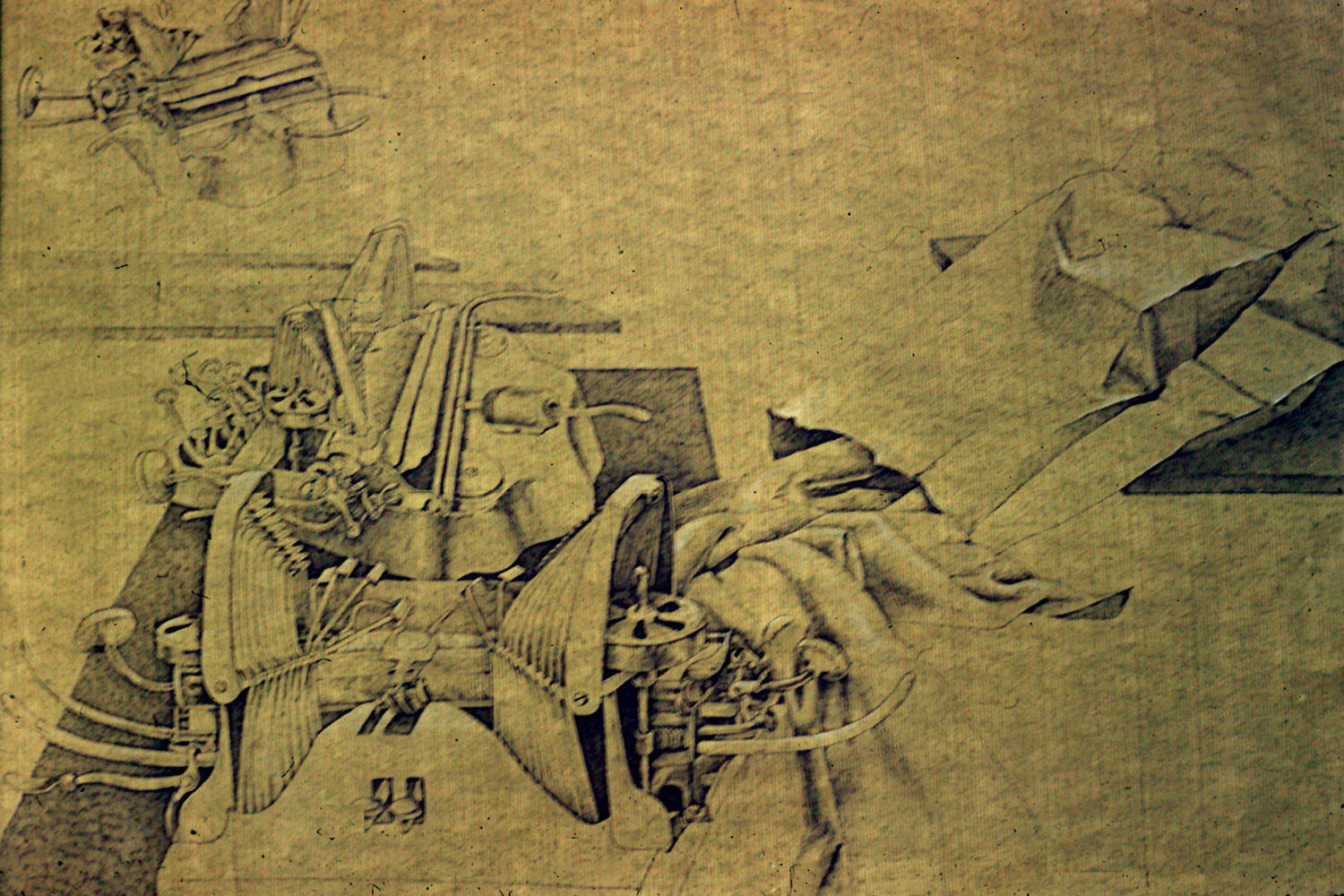 "The Typewriter and Bag War <span>Ink on Japanese handmade paper<br> 24"" x 38"" </span>"