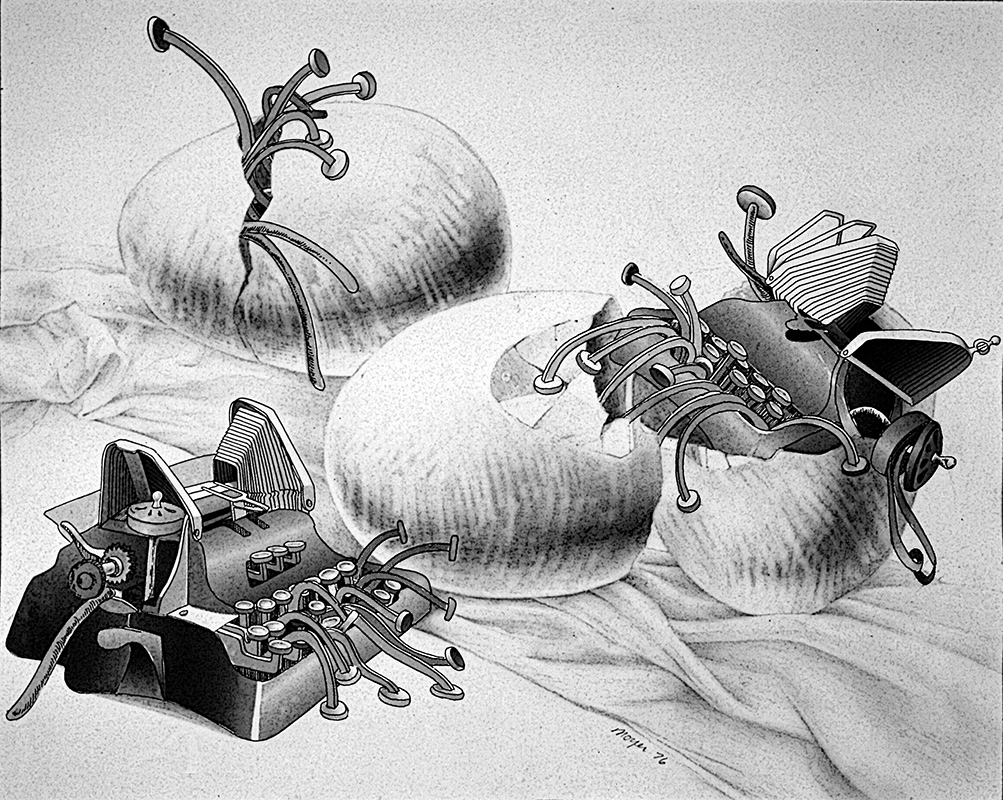 "Typewriters Hatching <span>Graphite, ink, collage<br> 18"" x 24"" </span>"