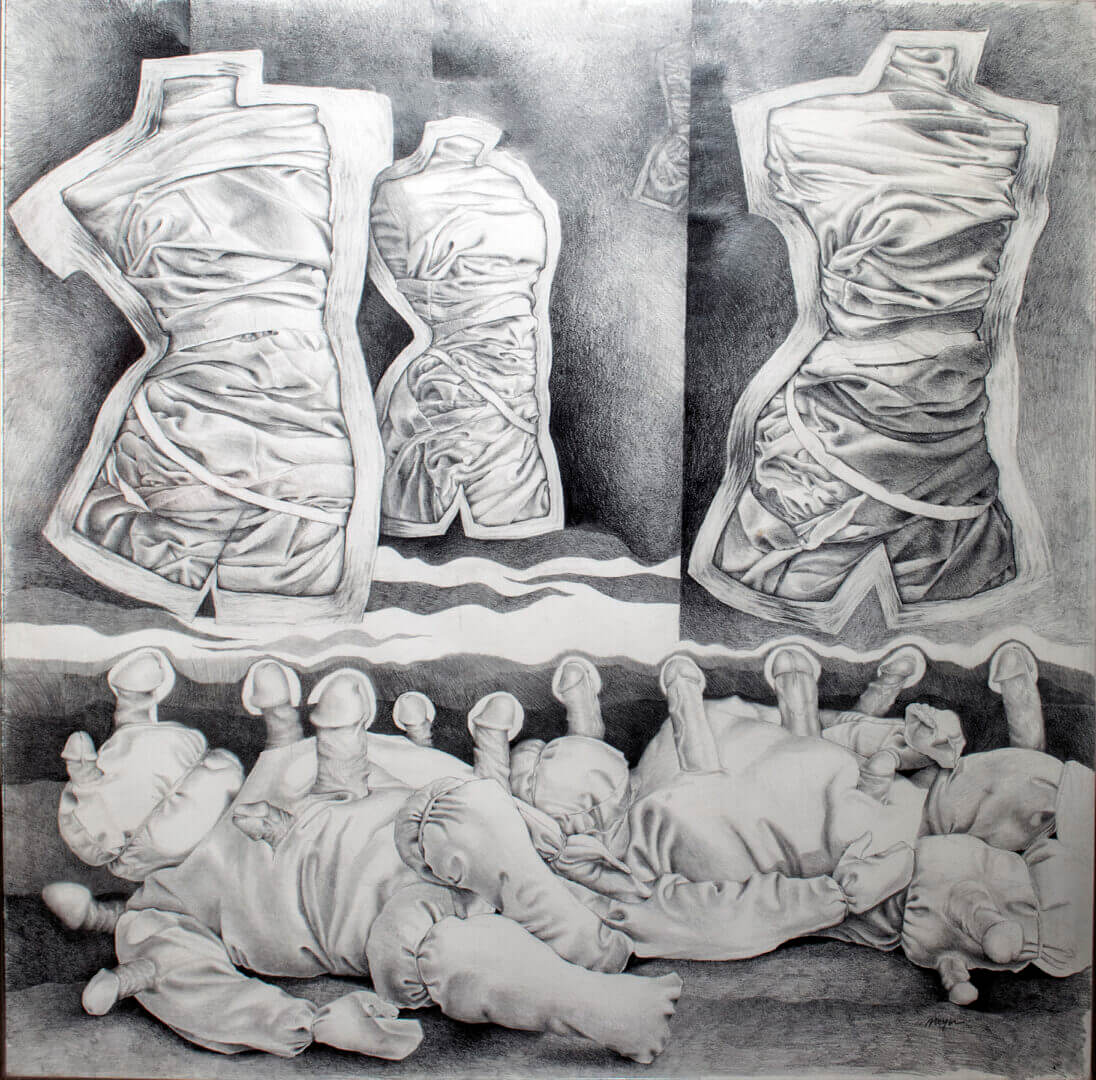 """The Mine Field <span> Pencil on Stonehenge paper<br> 38.5"""" x 40""""</span>"""