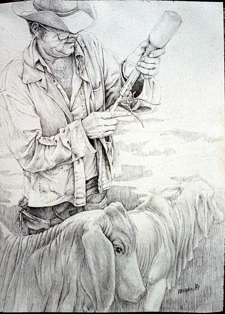 "James McAllen Juxtaposed with Zebu <span>Pencil on Stonehenge paper<br>9""x 12""</span>"