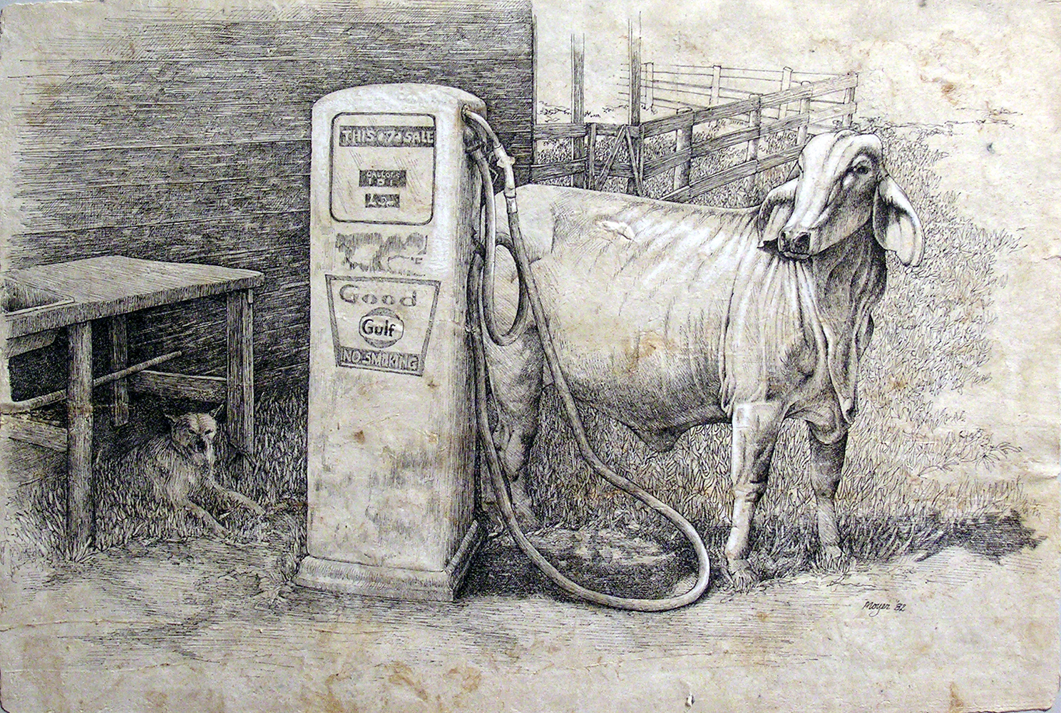 """Brahma with Gas Pump <span>Ink and conte on papel amate<br>12"""" x 15"""""""