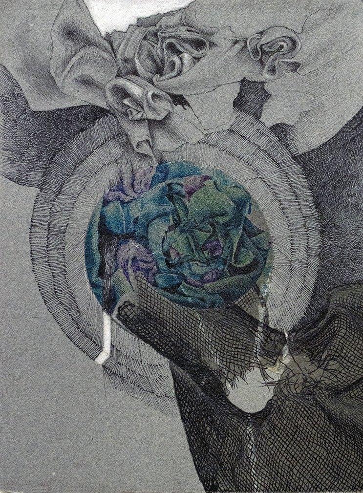 "Infecting, 2020<br> Mixed technologies on Moulin de Larroque handmade paper 9.5""x 12.5"""