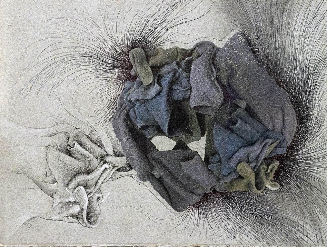 "Infection: Hemorrhage, 2020<br> Mixed technologies on Moulin de Larroque handmade paper 12.5""x 9.5"""
